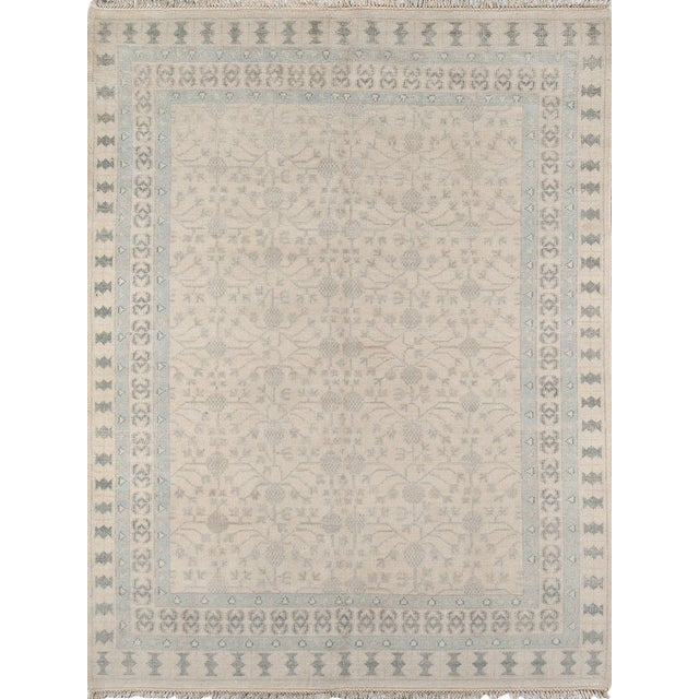 """Erin Gates Concord Sudbury Ivory Hand Knotted Wool Area Rug 5'6"""" X 8'6"""" For Sale"""