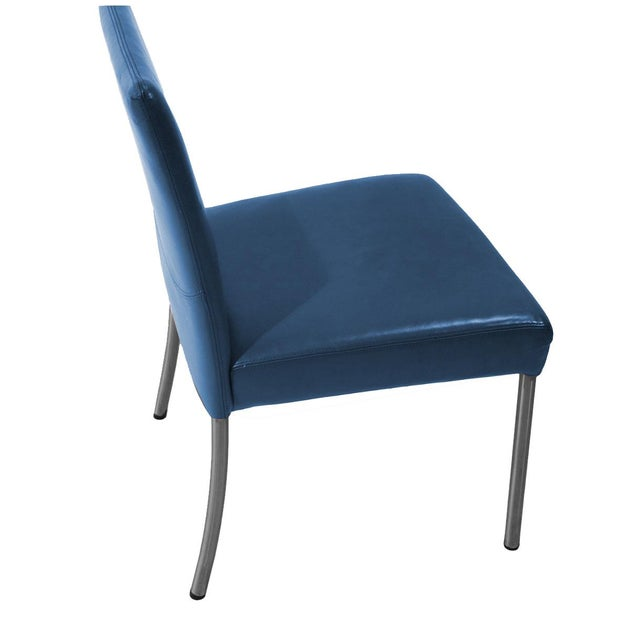 Set Of 6 Dining Chairs: Modern Leather Armless Side Dining Chairs