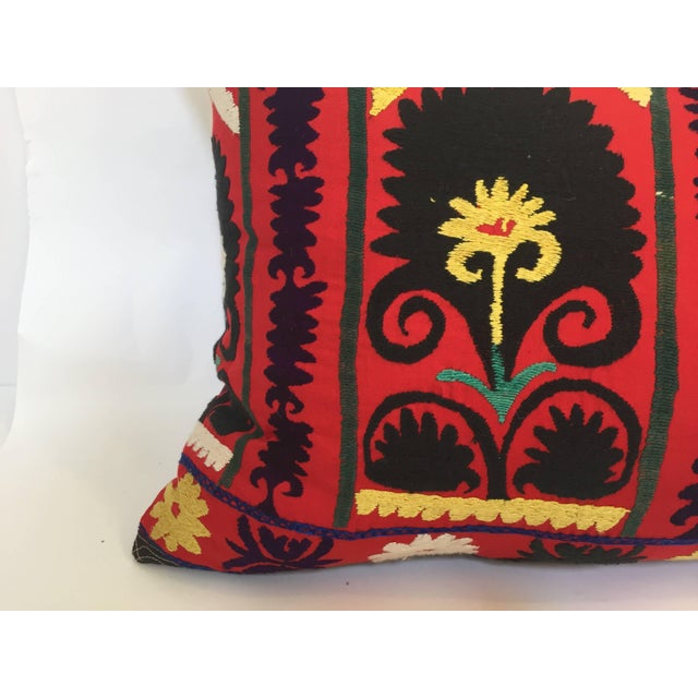 Vintage Large Colorful Suzani Embroidery Decorative Throw Pillow From Uzbekistan For Sale - Image 11 of 13