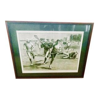 19th Century Harper's Bazaar Framed Lacrosse Print For Sale