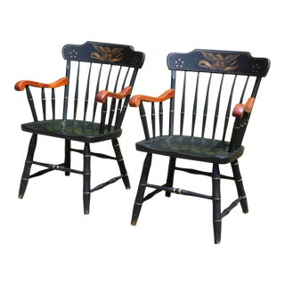 Vintage Pair Colonial S. Bent & Bros. Eagle Stenciled Windsor Style Arm Chairs For Sale