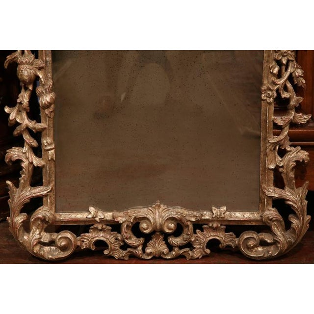 Mid-Century Italian Carved Wood Silver Leaf Mirror With Antiqued Mirror For Sale - Image 4 of 7