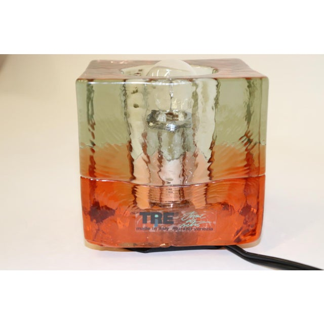 Itre Orange Mid-Century Modern Murano Glass Table Lamp For Sale - Image 4 of 13