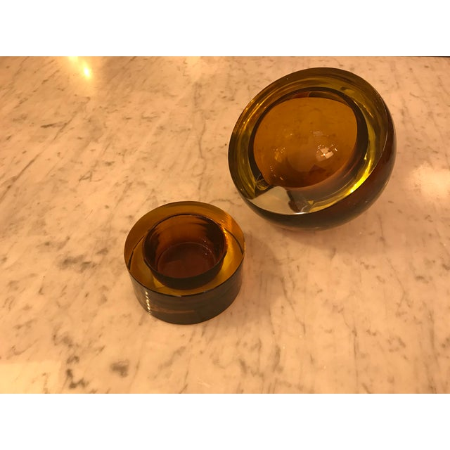 Hand-Blown Art Glass Angled Sphere Ashtray and Cachepot, Mid-Century For Sale - Image 4 of 6