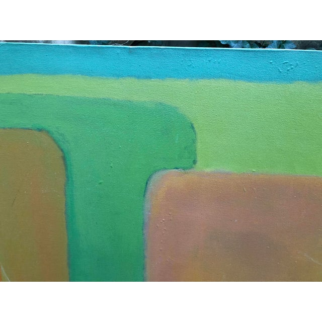 1960s Large Vintage Mid Century Abstract Oil Painting on Canvas in the Style of Josef Albee's For Sale - Image 5 of 9