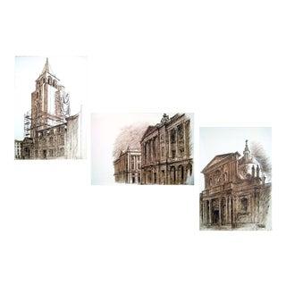 """1978 Jacques Chevalier """"Dessins De Paris"""" Lithographs- Set of 3"""