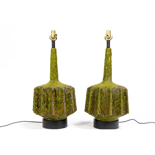 Brutalist Monumental Pair of Green Lava Glaze Lamps by Volcano Fantoni For Sale - Image 3 of 12