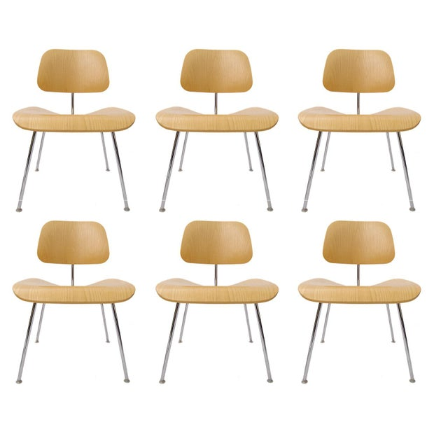 "Charles Eames ""DCM"" Chairs for Herman Miller in White Ash - Set of 6 - Image 7 of 7"