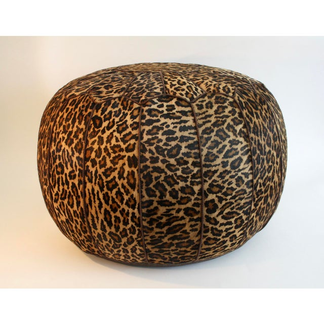 Jamie Young Leopard Print Cowhide Ottoman - Image 3 of 6