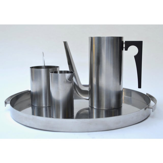 Contemporary Arne Jacobsen Stainless Set for Stelton For Sale - Image 3 of 8