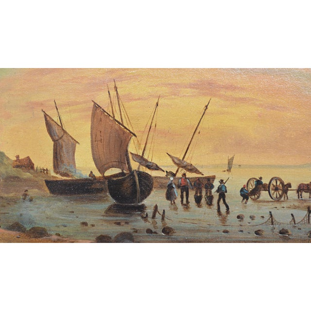 Nautical Continental School Painting, Sailing Ships at Shore For Sale - Image 3 of 4