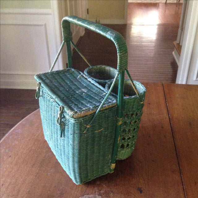 Vintage Green Wicker Picnic Basket - Image 3 of 11