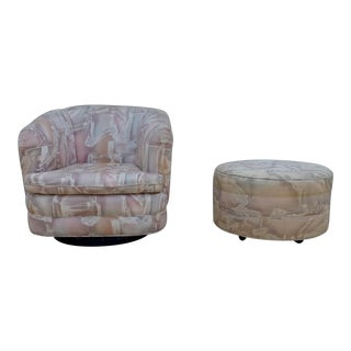 1980s Milo Baughman Style Post Modern Swivel Chair and Ottoman For Sale