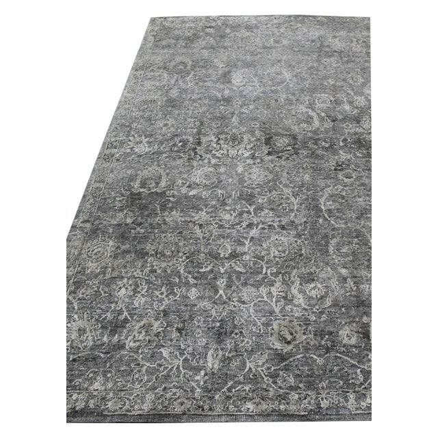 Bryant Gray/Charcoal hand knotted Wool/Viscose/Cotton Rug - 8'x10' For Sale - Image 4 of 7