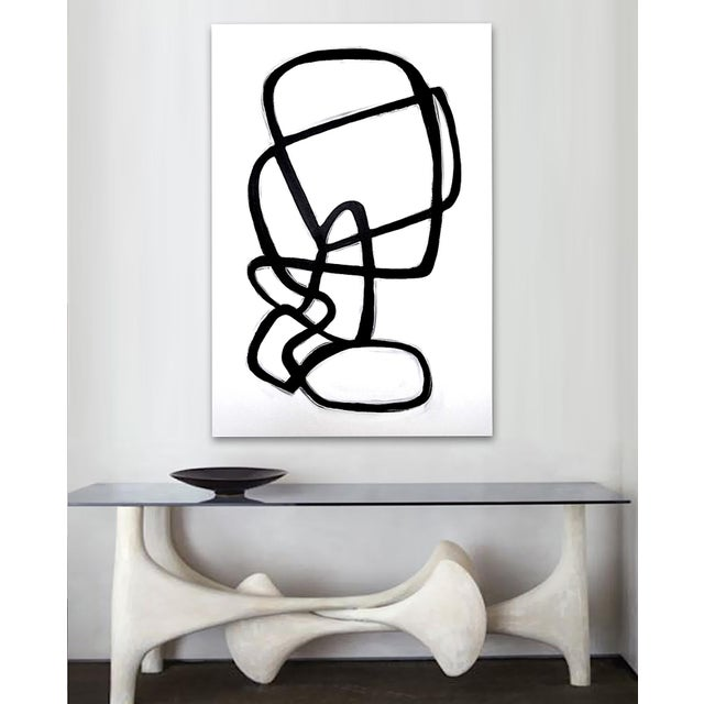 A dynamic, biomorphic line art composition in black and white. As with most of my work, this painting can be displayed...