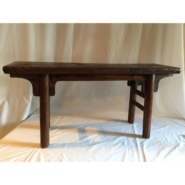 Primitive Chinese Oak Bench - Image 4 of 4