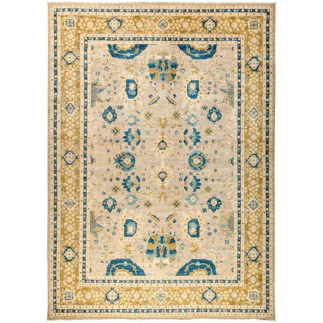 "Suzani Hand Knotted Area Rug - 10'2"" X 14'2"" For Sale - Image 4 of 4"