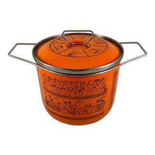 Mid-Century Italian Siltal Egyptian Revival Orange Enameled Steel Dutch Oven For Sale