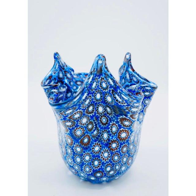 Mid-Century Modern Vintage Blue Murano Millefiori Handkerchief Vase For Sale - Image 3 of 13