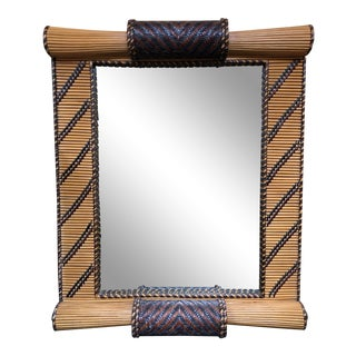 Exotic Bamboo + Leather Wall Mirror For Sale