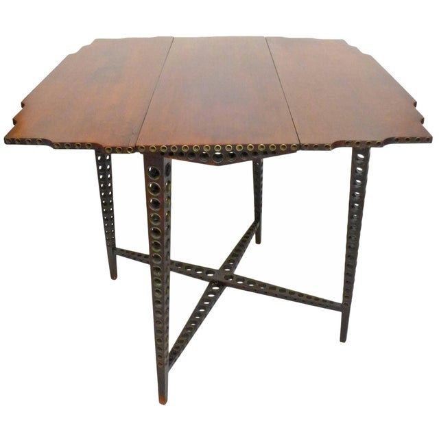 Wood Early 20th Century Drop-Leaf Wood and Brass-Grommet Table For Sale - Image 7 of 7