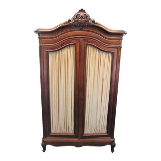 19th Century Louis XV Carved Walnut Armoire For Sale