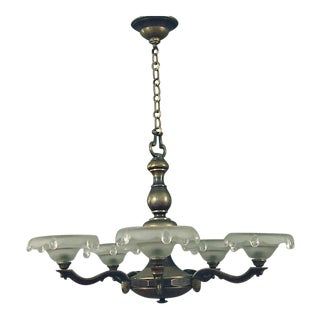 1930s French Two-Tone Five Frosted Shade Brass Chandelier For Sale