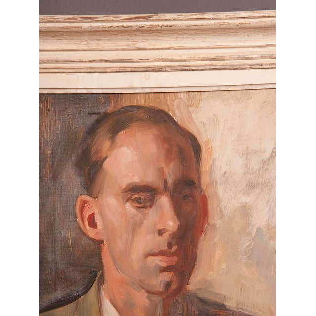 1960s Portrait of Gentleman's Bust English Oil on Canvas Painting by Victor Hume Moody For Sale In Houston - Image 6 of 8