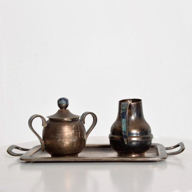 Los Castillo Coffee Tea Serving Set Silverplate & Malachite Azurite Stone Mexican Mid Century For Sale In San Diego - Image 6 of 11