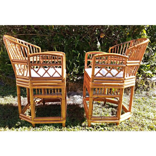 Vintage Mid Century Brighton Tiger Bamboo Chairs- A Pair For Sale - Image 4 of 13