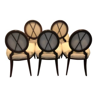 Barbara Barry for Baker Oval X-Back Dining Chairs - Set of 5 For Sale