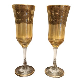 1970s Vintage Italian Champagne Glasses - A Pair For Sale