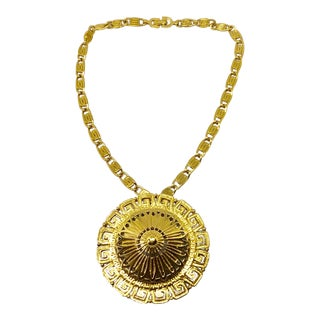 Monet Gold Tone Etruscan Pendant Necklace For Sale