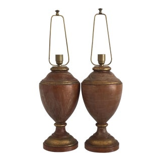 Italian Turned Wood Lamps - a Pair For Sale
