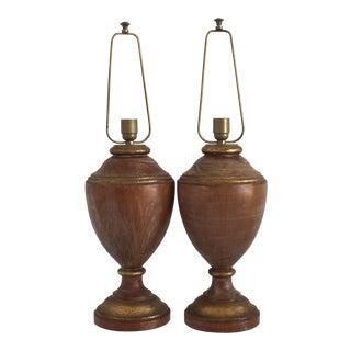 Italian Turned Wood Lamps - a Pair