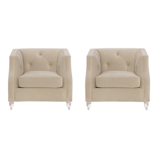 Modern Caracole Balancing Act Velvet Club Chairs Pair For Sale