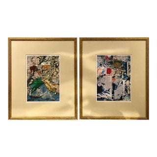 Abstract Signed Watercolor Paintings - A Pair For Sale
