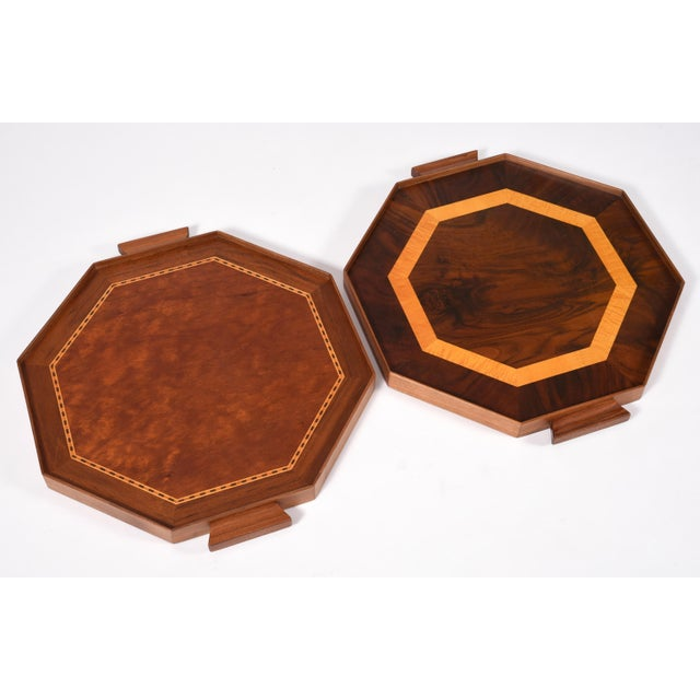 Mid-Century Modern pair of burlwood barware or serving trays. These serving trays are just exquisite, and in excellent...