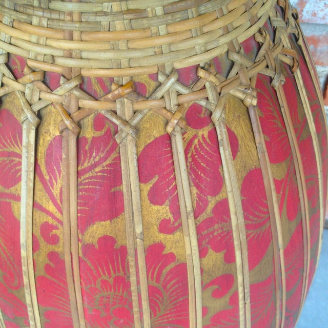 Thai Bamboo Vase Sculpture - Image 3 of 3