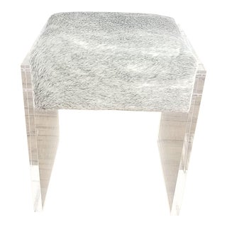 Acrylic & Cowhide Stool For Sale