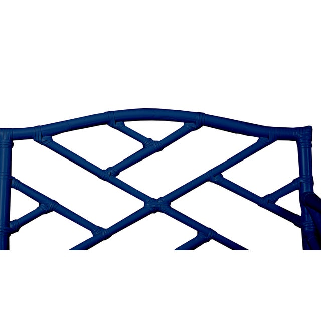 Not Yet Made - Made To Order Chippendale Bench - Navy Blue For Sale - Image 5 of 6