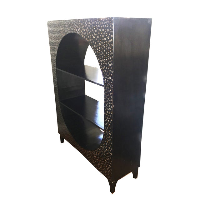 Modern Ebony Wood & Bamboo Curio Bookshelf - Image 3 of 3