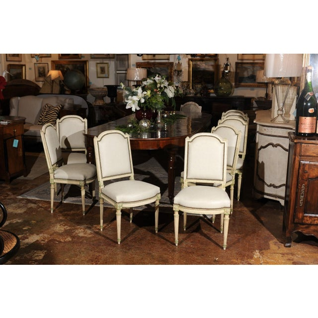 Set of Eight French Louis XVI Style Painted Dining Chairs with New Upholstery For Sale - Image 11 of 13
