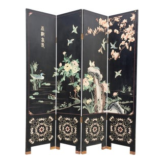 Chinoiserie Partition Four Panel Room Screen For Sale