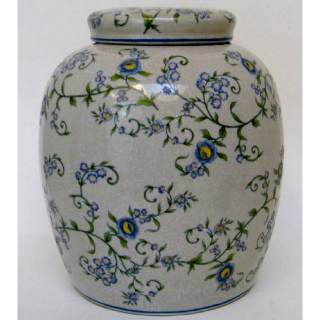 Gray Floral Ginger Jar For Sale In Los Angeles - Image 6 of 6