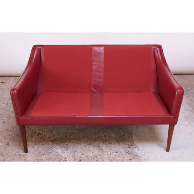 Danish Modern Cranberry Leather Settee by Hans Olsen For Sale In New York - Image 6 of 13