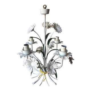 Vintage Tole Chandelier With Daisies For Sale