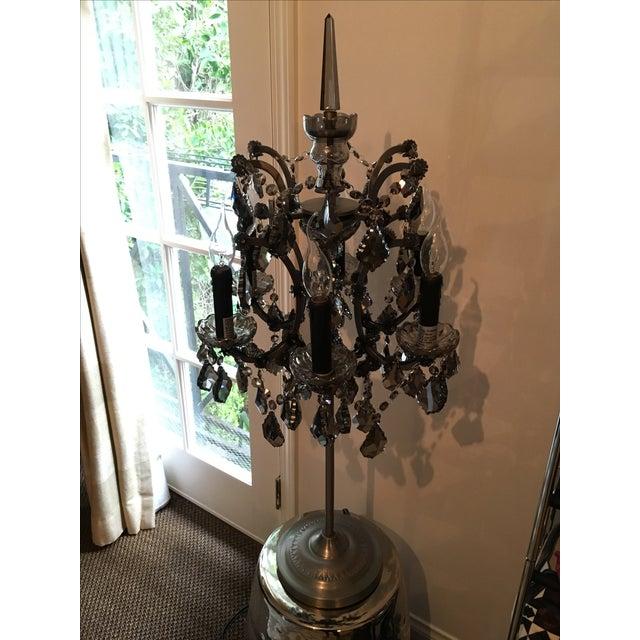 19th C. Rococo Iron & Smoke Crystal Table Lamp - Image 2 of 8