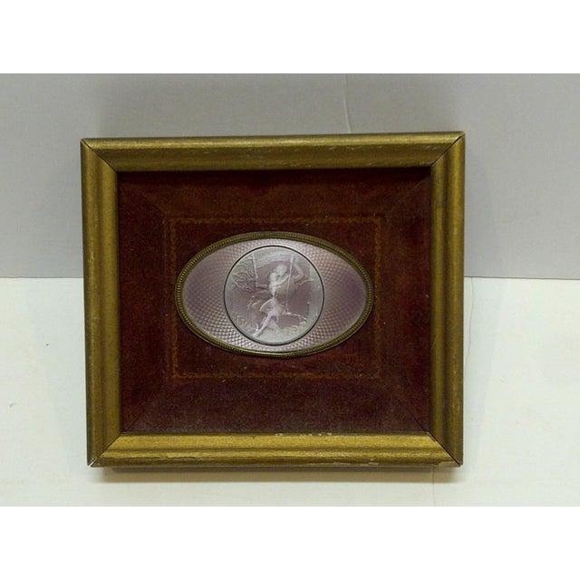 "Vintage ""Swinging on a Swing"" Framed Enamel For Sale In Pittsburgh - Image 6 of 6"