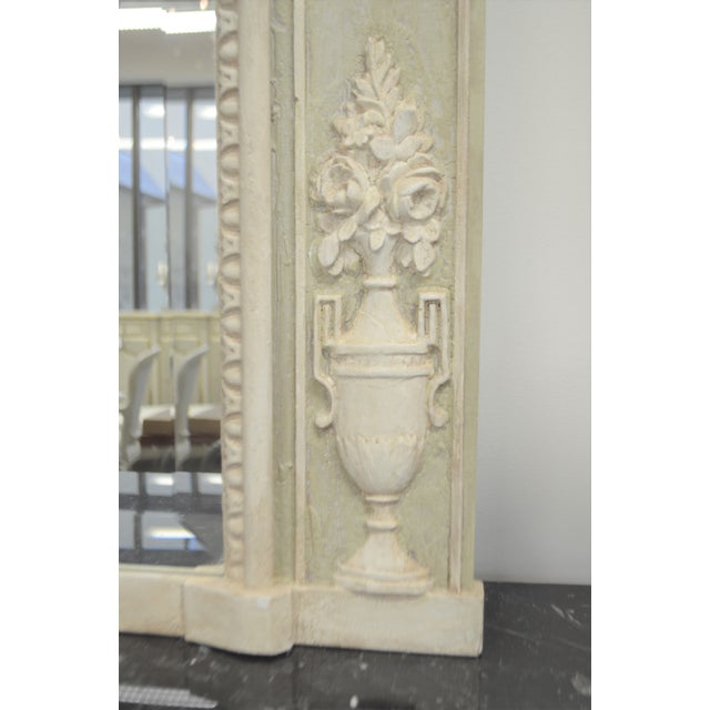Louis XV Louis XV Style Painted Trumeay Mirror in a Light Green to With Antique White Accent, New Beveled Mirror For Sale - Image 3 of 7